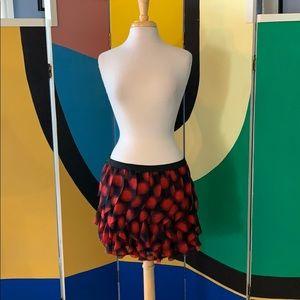 Red and black chiffon petal cut flirty skirt